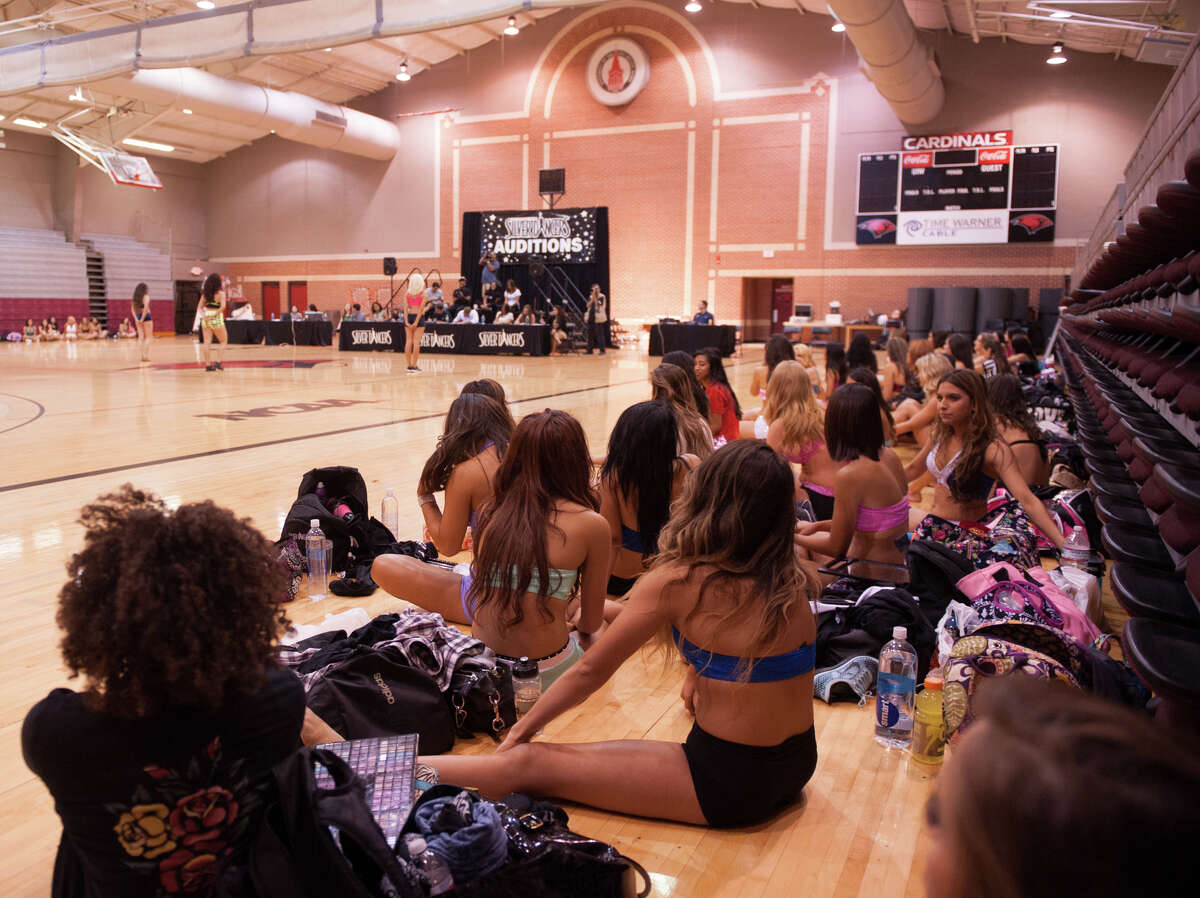 Spurs Silver Dancer aspirants watch auditions Saturday morning, August 2, 2014, at the University of the Incarnate Word Convocation Center.