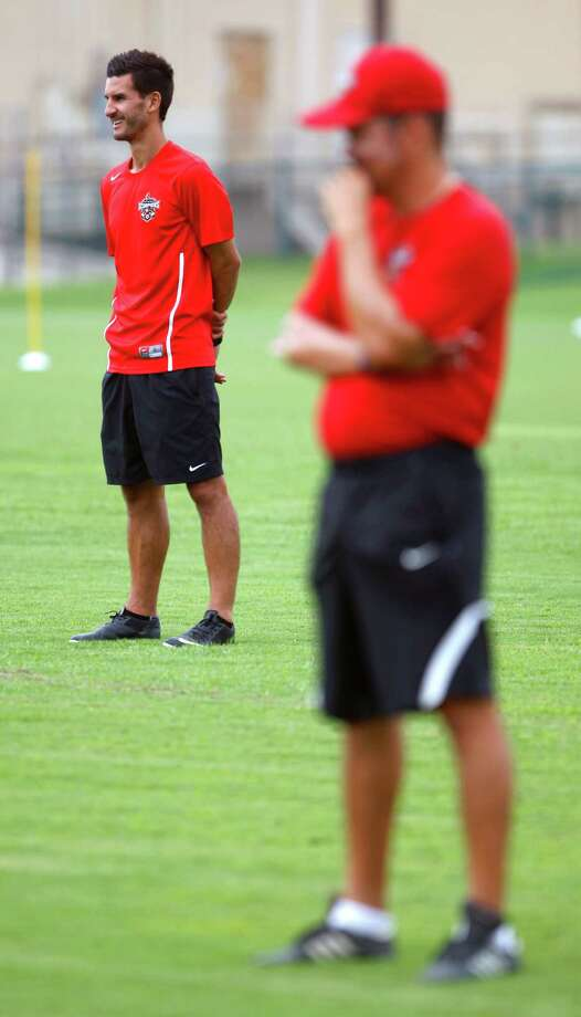 Scorpions head coach Alen Marcina works Thursday morning July 31, 2014 with the team during practice at Blossom Athletic Center. Marcina has reshaped the team following its disappointing season in 2013. The Scorpions head to Edmonton for a match on Sunday in first place of the NASL fall standings. Photo: William Luther, San Antonio Express-News / © 2014 San Antonio Express-News