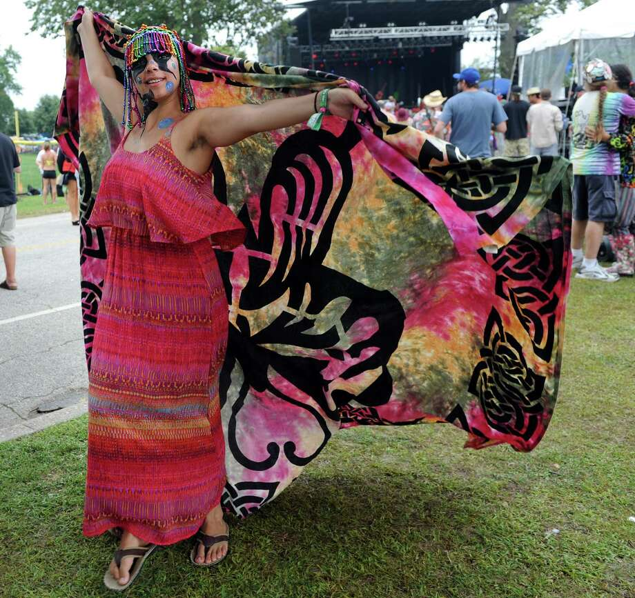 Esmorina Laspiranza, of Wilkes-Barre, Penn., dances in front of the Green Vibes stage at the annual Gathering of the Vibes music festival Saturday, Aug. 2, 2014, at Seaside Park in Bridgeport, Conn. Photo: Autumn Driscoll / Connecticut Post freelance