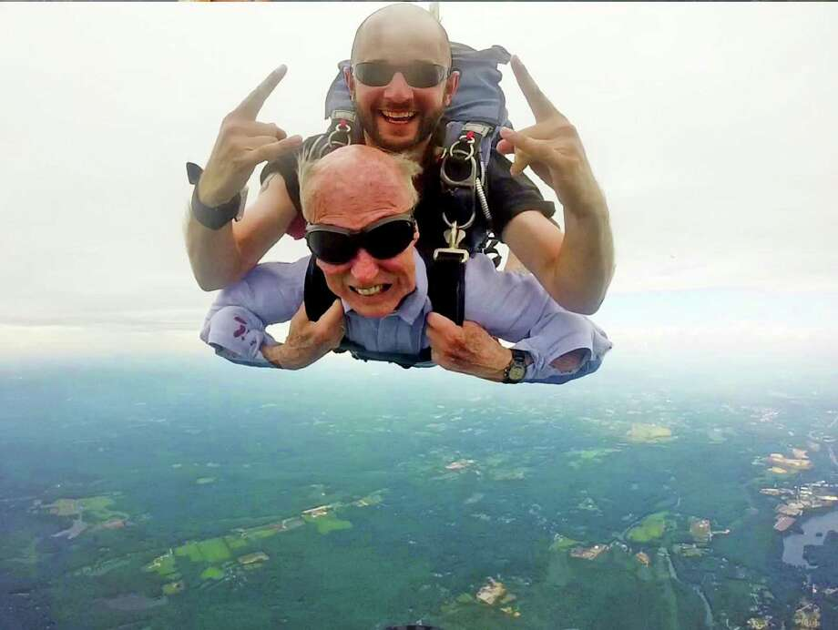 Long-time Greenwich resident Chuck Standard goes for a tandem skydive on his 95th birthday. Photo: Contributed Photo / Greenwich Time Contributed