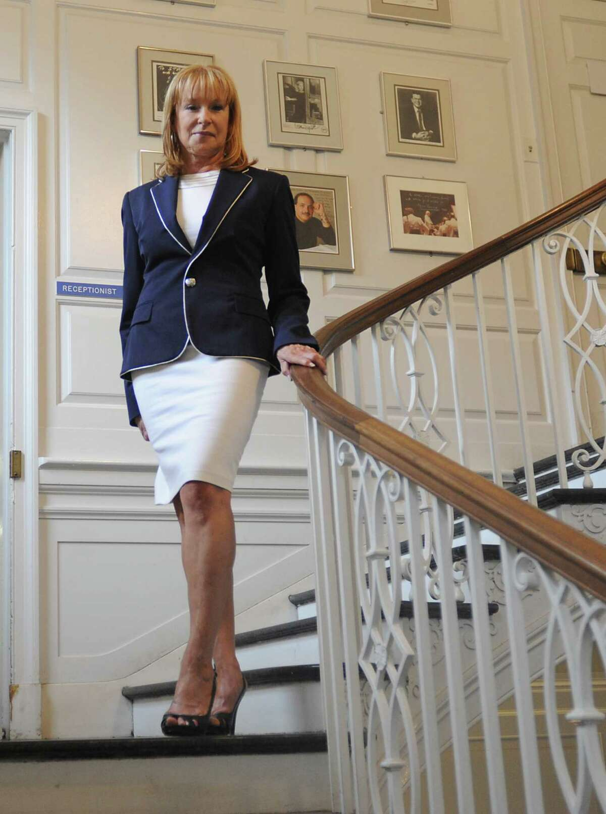 Marcia White, president and executive director of the Saratoga Performing Arts Center, stands on a staircase leading to her office on Monday, July 28, 2014 in Saratoga Springs, N.Y. This is White's 10th summer at SPAC. (Lori Van Buren / Times Union)
