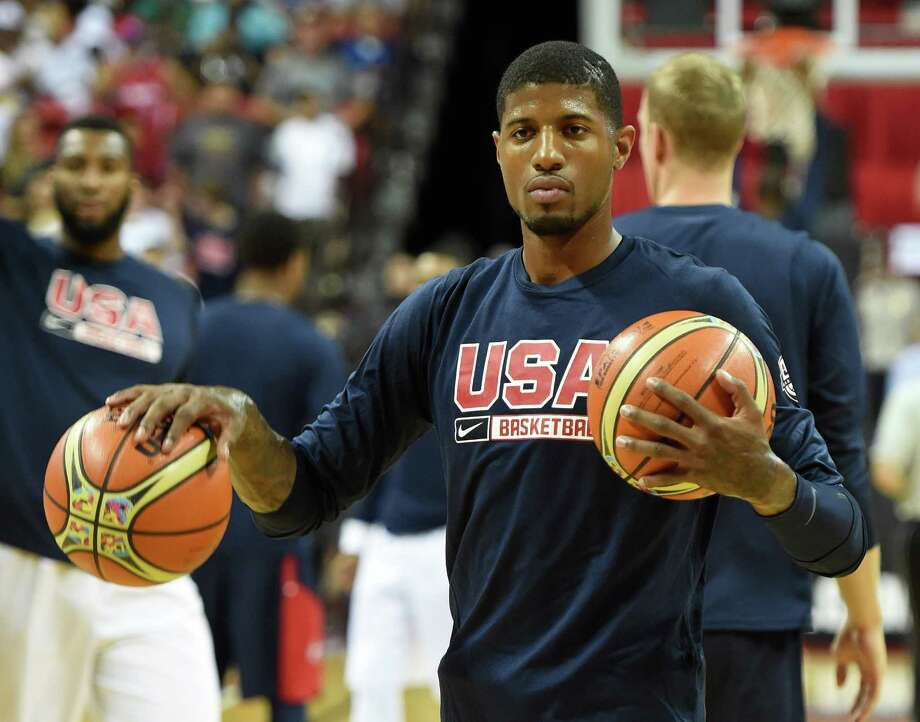 LAS VEGAS, NV - AUGUST 01:  Paul George #29 of the 2014 USA Basketball Men's National Team warms up before a USA Basketball showcase at the Thomas & Mack Center on August 1, 2014 in Las Vegas, Nevada.  (Photo by Ethan Miller/Getty Images) ORG XMIT: 485649231 Photo: Ethan Miller / 2014 Getty Images