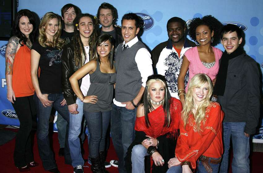 American Idol Top 12 contestants (from left) Carly Smithson, Kristy Lee Cook, David Cook, Jason Castro, Michael Johns, Ramiele Malubay, David Hernandez, Amanda Overmyer, Chikezie, Brooke White, Syesha Mercado and David Archuleta attend the American Idol Top 12 Party at the Pacific Design Center on March 6, 2008 in West Hollywood, California.