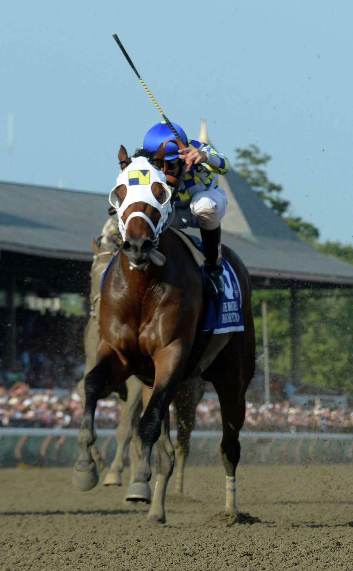 Moreno ridden by jockey Junior Alvarado outlasted the field to win the 87th running of The Whitney Saturday afternoon Aug. 2, 2014 at the Saratoga Race Course in Saratoga Springs, N.Y. (Skip Dickstein/Times Union) ORG XMIT: NYALT