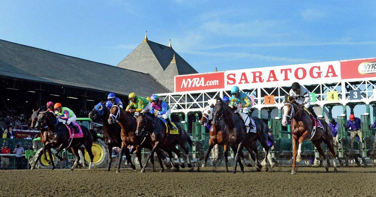 The field leaves the gate at the start of the 87th running of The Whitney Saturday afternoon Aug. 2, 2014 at the Saratoga Race Course in Saratoga Springs, N.Y. (Skip Dickstein/Times Union) ORG XMIT: NYALT