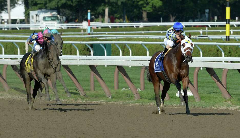 Moreno ridden by jockey Junior Alvarado outlasted the field to win the 87th running of The Whitney S