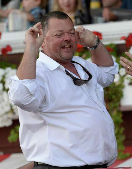 Trainer Eric Guillot is exultant after his charge Moreno won the 87th running of The Whitney Saturda