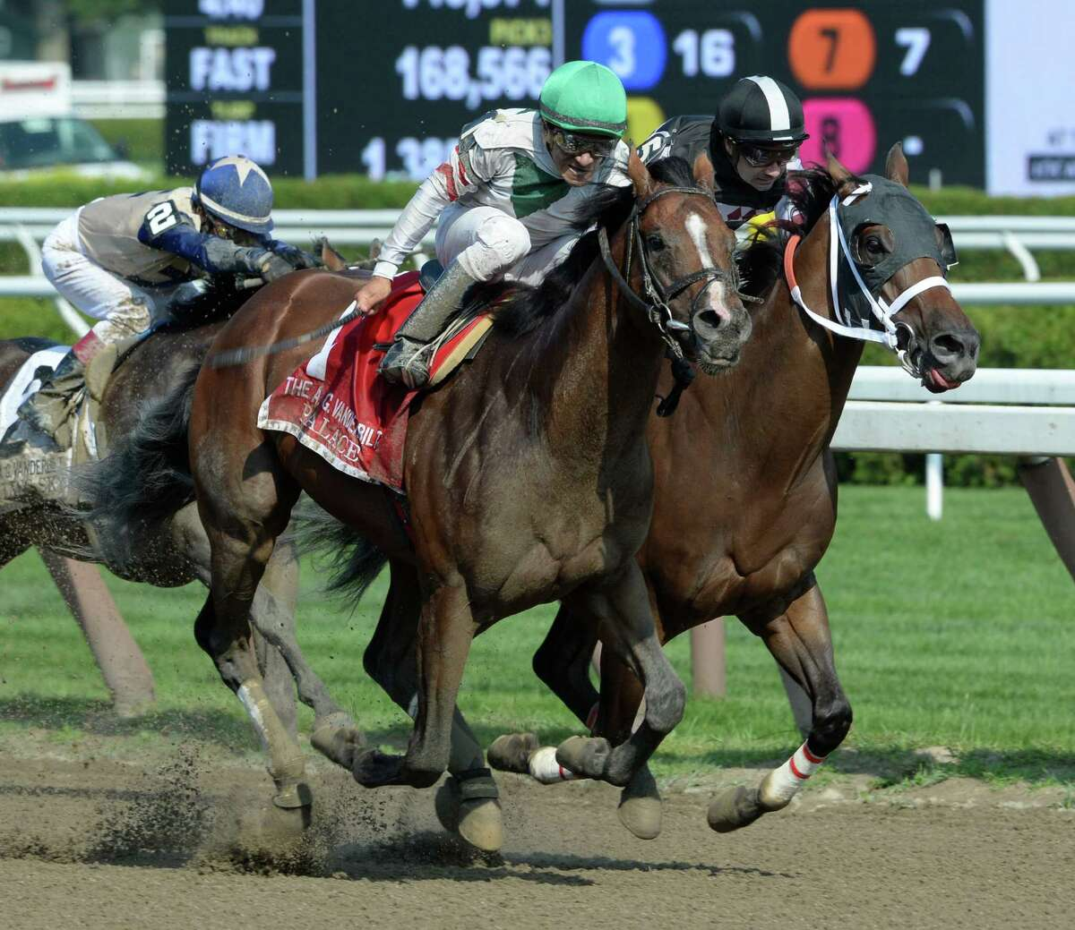 Palace with jockey Cornelio Velasquez wins the 30th running of the Alfred G. Vanderbuilt Saturday afternoon Aug. 2, 2014 at the Saratoga Race Course in Saratoga Springs, N.Y. (Skip Dickstein/Times Union) ORG XMIT: NYALT