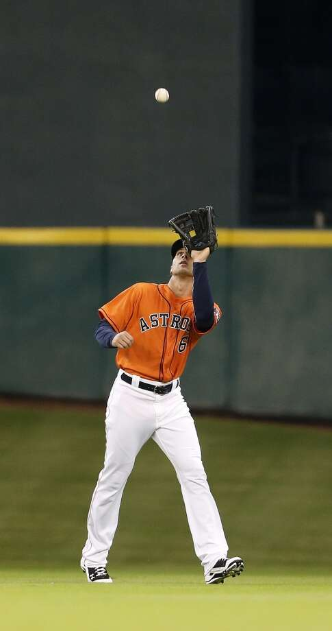 Jake Marisnick catches a pop out during the first inning. Photo: Karen Warren, Houston Chronicle