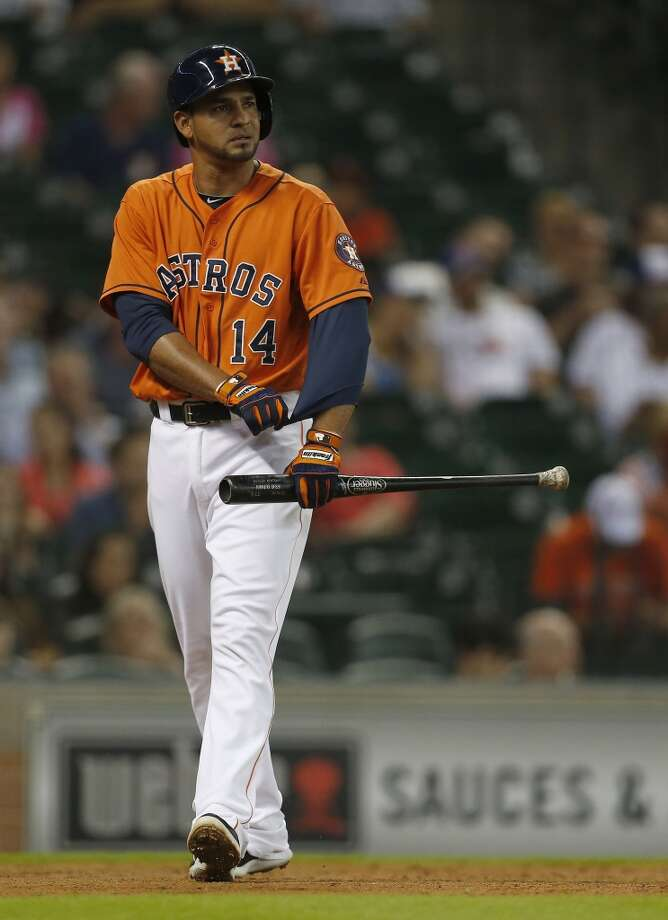 Jesus Guzman reacts after striking out during the second inning. Photo: Karen Warren, Houston Chronicle