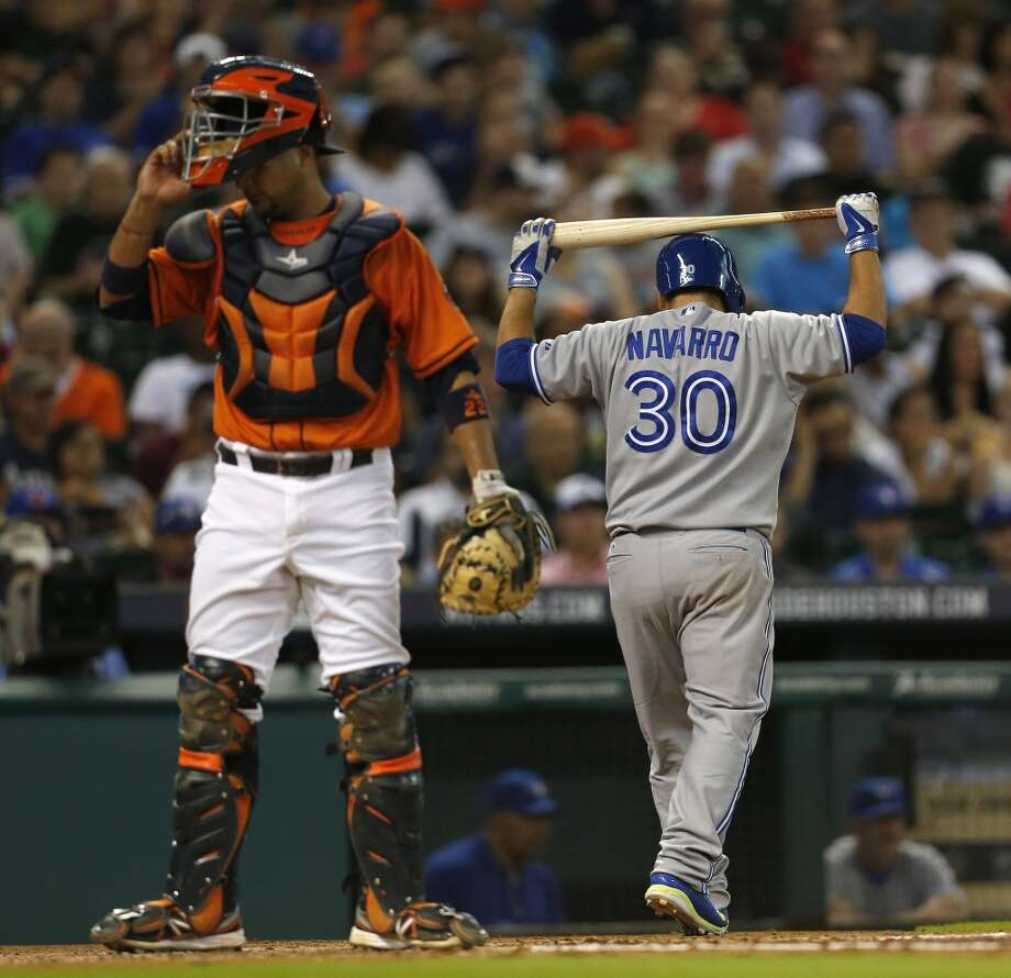 Dioner Navarro reacts after striking out during the third inning. Photo: Karen Warren, Houston Chronicle