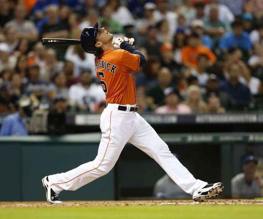 Jake Marisnick pops up in the fifth inning. Photo: Karen Warren, Houston Chronicle