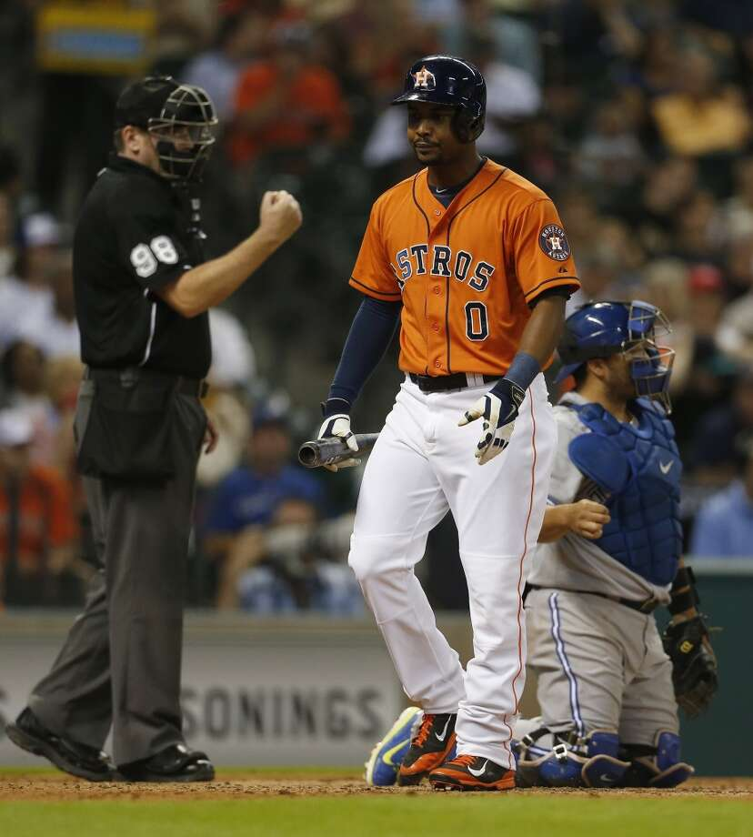 L.J. Hoes reacts after striking out during the fifth inning. Photo: Karen Warren, Houston Chronicle