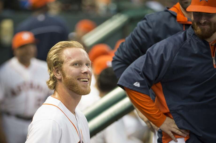 Astros relief pitcher Mike Foltynewicz smiles after leaving the game after pitching to two batters in the eighth. Photo: Smiley N. Pool, Houston Chronicle