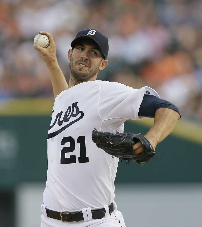 Detroit's Rick Porcello allowed two runs and struck out 10 in eight innings while earning his 13th win. Photo: Carlos Osorio, Associated Press