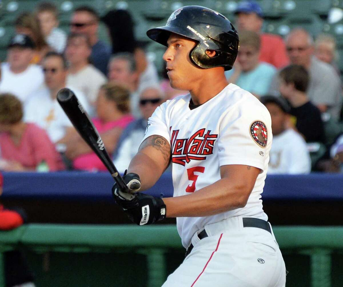 Tri-City ValleyCats' outfielder #5 Terrell Joyce hits a bases clearing double against the Batavia Muckdogs during Saturday's game at Bruno Stadium August 3, 2014, in Troy, NY. (John Carl D'Annibale / Times Union)