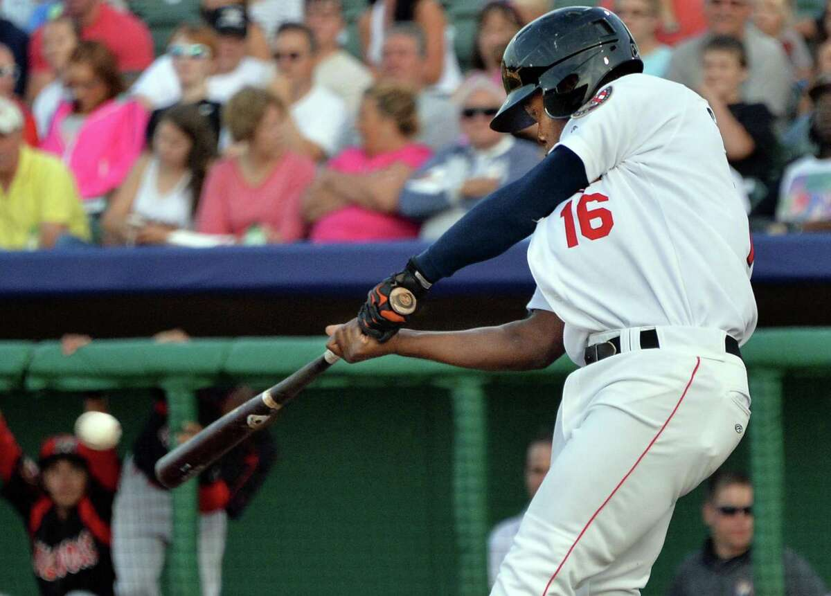 Tri-City ValleyCats' #16 Jose Solano doubles against the Batavia Muckdogs during Saturday's game at Bruno Stadium August 3, 2014, in Troy, NY. (John Carl D'Annibale / Times Union)