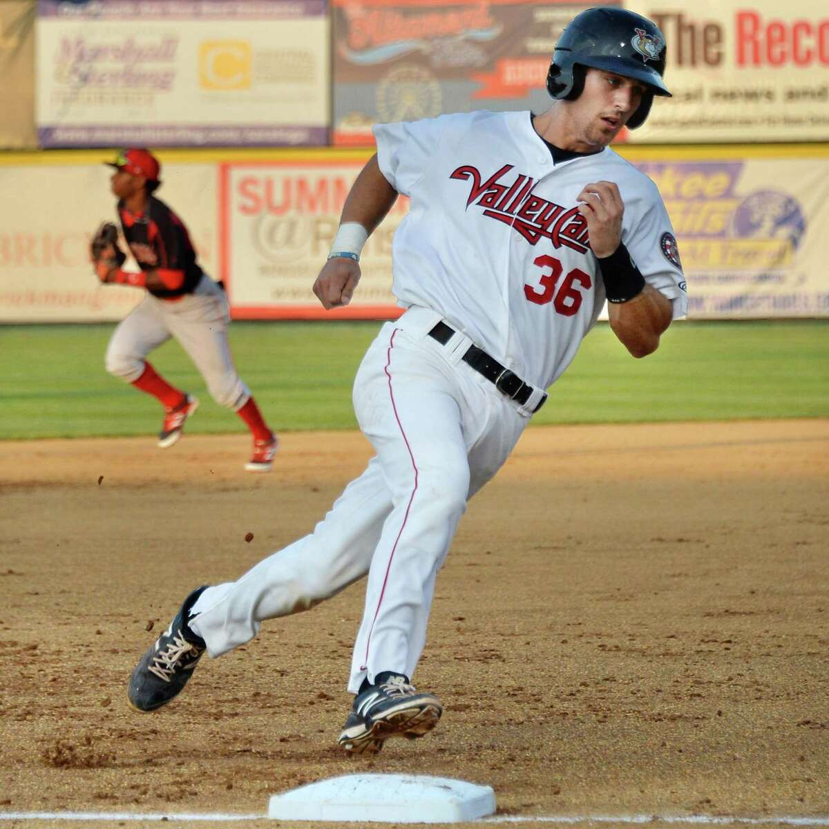 Tri-City ValleyCats' catcher #36 Jamie Richards rounds third on his way to scoring on a Terrell Joyce double against the Batavia Muckdogs during Saturday's game at Bruno Stadium August 3, 2014, in Troy, NY. (John Carl D'Annibale / Times Union)