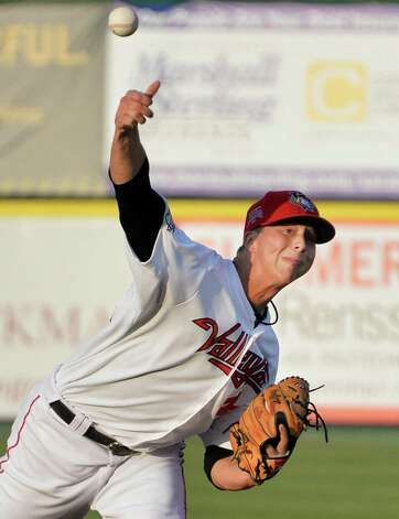 Tri-City ValleyCats' starting pitcher Tony Scribner during Saturday's game against the Batavia Muckdogs at Bruno Stadium August 3, 2014, in Troy, NY.  (John Carl D'Annibale / Times Union) Photo: John Carl D'Annibale / 00027951A