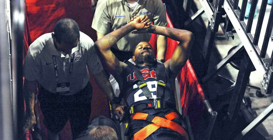 Paul George's recovery time from the broken leg he suffered Friday night in Las Vegas could take 9-12 months, which means he could return during next season's playoffs. Photo: Glenn Pinkerton / Associated Press / Las Vegas News Bureau