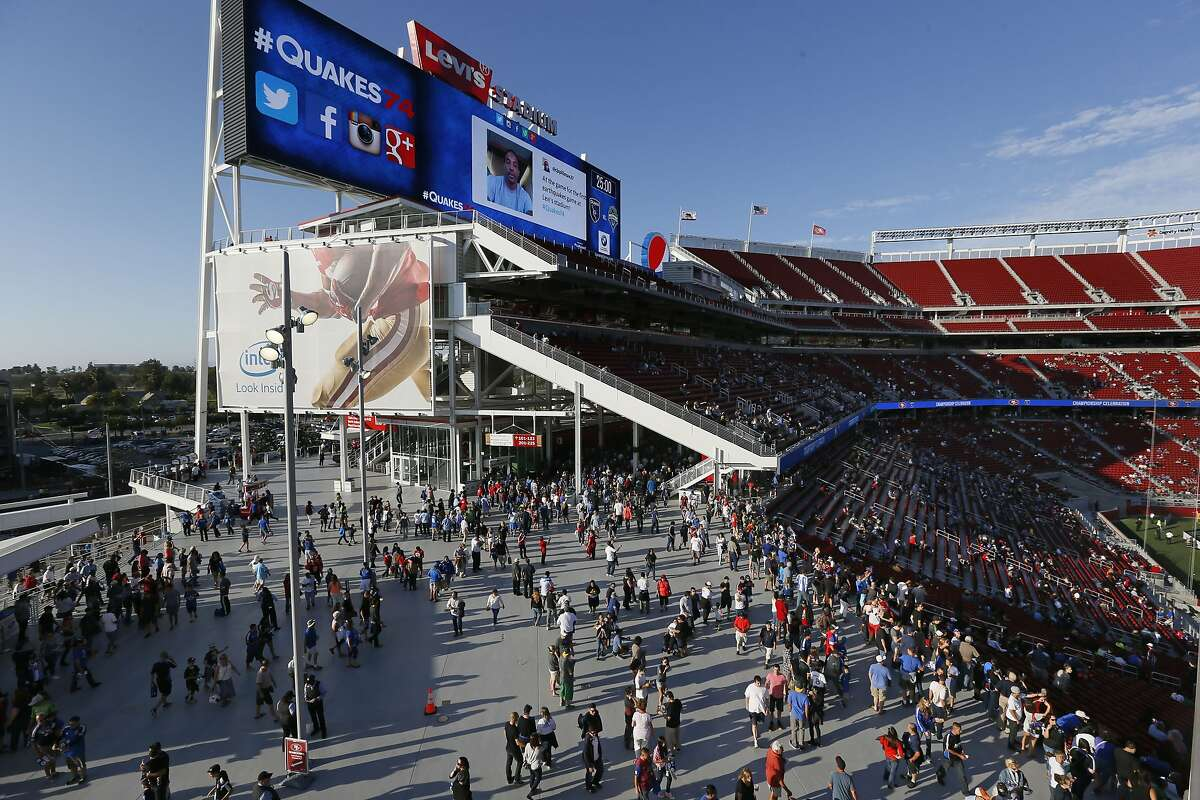 Fans arrive early as the San Jose Earthquakes prepare to take on the Seattle Sounders in Major League Soccer action at the first ever event held at the new home of the San Francisco 49ers Levi's Stadium in Santa Clara, Calif. on Saturday August 2, 2014.