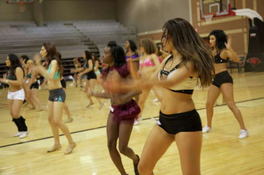 Aspiring Silver Dancers try out for the Spurs cheer squad on Saturday, Aug. 2, 2014, at the University of the Incarnate Word Convocation Center. Photo: Xelina Flores/For MySA.com