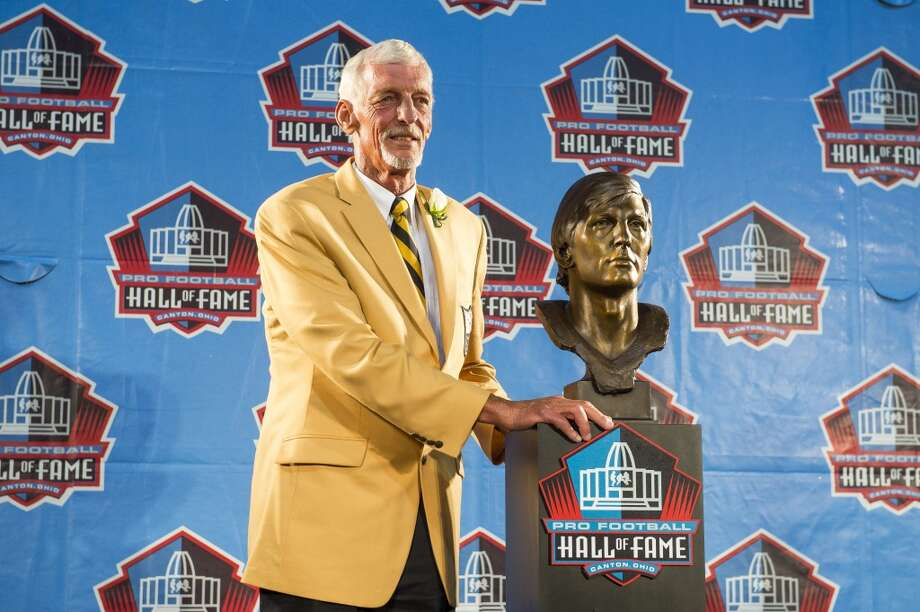 Former NFL punter Ray Guy with his bust during the NFL Class of 2014 Pro Football Hall of Fame Enshrinement Ceremony at Fawcett Stadium on August 2, 2014 in Canton, Ohio. Photo: Jason Miller, Getty Images
