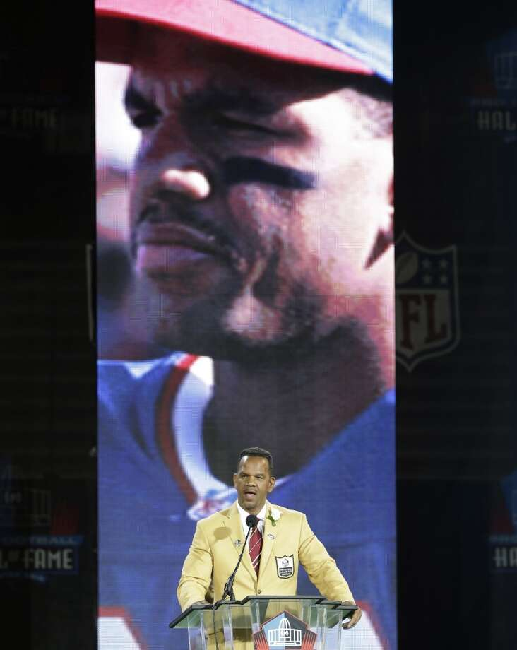 Hall of Fame inductee Andre Reed speaks during the 2014 Pro Football Hall of Fame Enshrinement Ceremony at the Pro Football Hall of Fame Saturday, Aug. 2, 2014, in Canton, Ohio. Photo: Tony Dejak, Associated Press