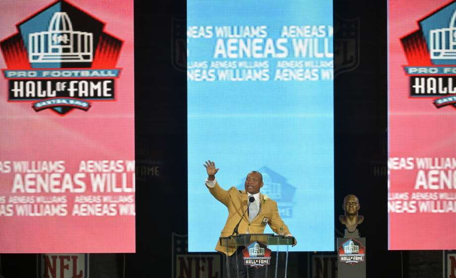 Hall of Fame inductee Aeneas Williams speaks during the 2014 Pro Football Hall of Fame Enshrinement Ceremony at the Pro Football Hall of Fame Saturday, Aug 2, 2014 in Canton, Ohio. Photo: David Richard, Associated Press