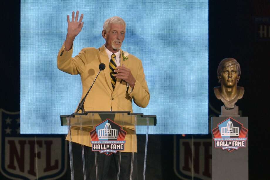 Hall of Fame inductee Ray Guy speaks during the 2014 Pro Football Hall of Fame Enshrinement Ceremony at the Pro Football Hall of Fame Saturday, Aug 2, 2014 in Canton, Ohio. Photo: David Richard, Associated Press