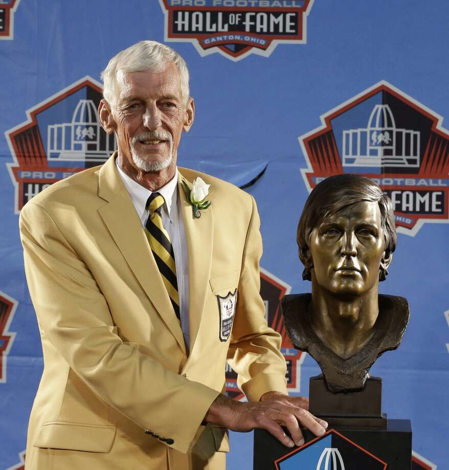 Hall of Fame inductee Ray Guy poses with his bust during the 2014 Pro Football Hall of Fame Enshrinement Ceremony at the Pro Football Hall of Fame Saturday, Aug. 2, 2014, in Canton, Ohio. Photo: Tony Dejak, Associated Press