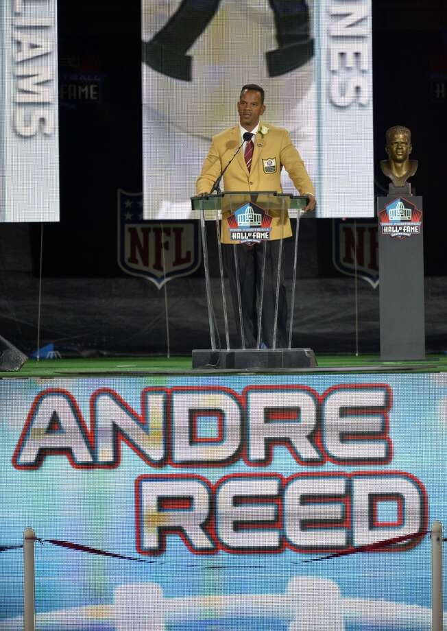 Hall of Fame inductee Andre Reed speaks during the 2014 Pro Football Hall of Fame Enshrinement Ceremony at the Pro Football Hall of Fame Saturday, Aug 2, 2014 in Canton, Ohio. Photo: David Richard, Associated Press
