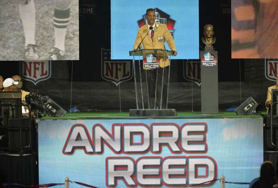 Hall of Fame inductee Andre Reed speaks during the Pro Football Hall of Fame enshrinement ceremony Saturday, Aug. 2, 2014, in Canton, Ohio. Photo: David Richard, Associated Press