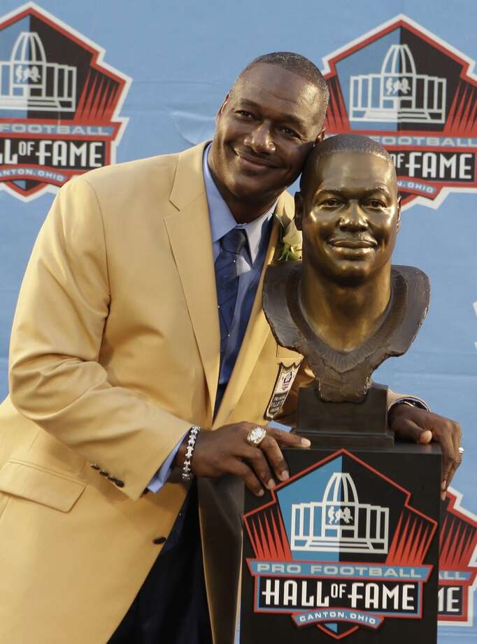 Hall of Fame Inductee Derrick Brooks poses with his bust during the 2014 Pro Football Hall of Fame Enshrinement Ceremony at the Pro Football Hall of Fame Saturday, Aug. 2, 2014, in Canton, Ohio. (AP Photo/Tony Dejak) Photo: Tony Dejak, Associated Press
