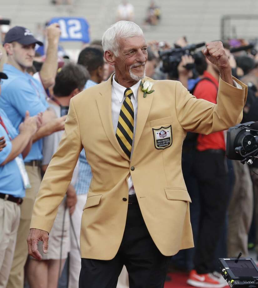 Hall of Fame Inductee Ray Guy is introduced during the 2014 Pro Football Hall of Fame Enshrinement Ceremony at the Pro Football Hall of Fame Saturday, Aug. 2, 2014, in Canton, Ohio. Photo: Tony Dejak, Associated Press