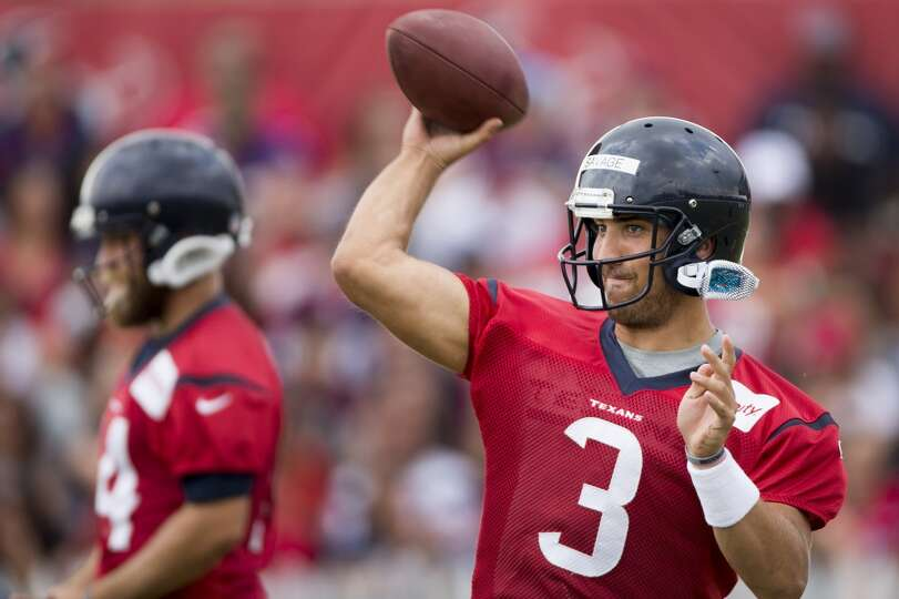 Texans quarterback Tom Savage (3) throws a pass.