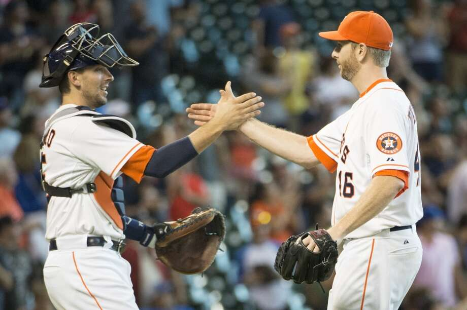 August 3: Astros 6, Blue Jays 1Astros starting pitcher Scott Feldman celebrates with catcher Jason Castro after the final out. Photo: Smiley N. Pool, Houston Chronicle