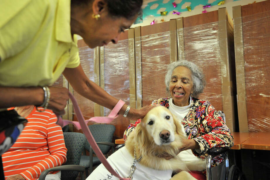 Donna Webster Hunter, left, brings her dog, Chloe, to greet her mother, Christine Webster, during Pooches on Parade at Nathaniel Witherell nursing home in Greenwich, Conn., on Sunday, Aug. 3, 2014. Donna outfitted Chloe to wish her mother a happy 97th birthday, which will occur later in the month. Photo: Jason Rearick / Stamford Advocate