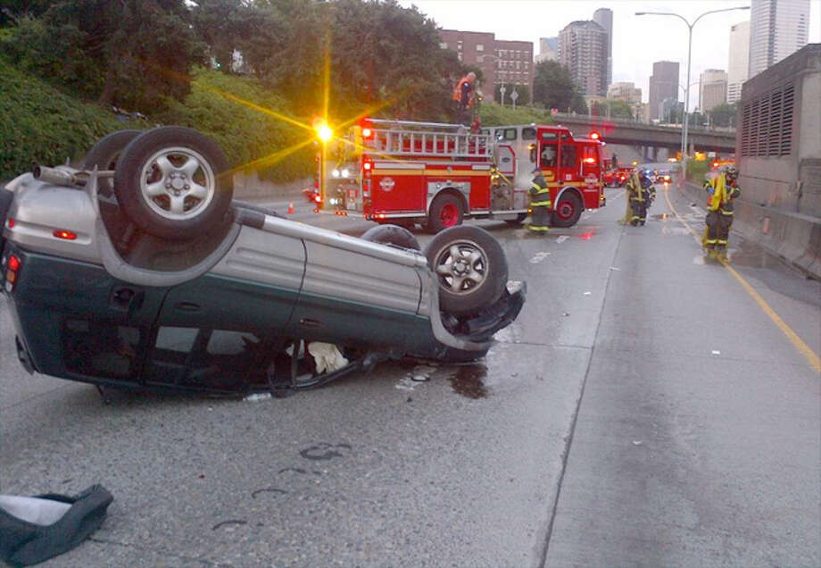 NB I-5 at Mercer St, the second injury rollover. August 3, 2014. Photo: WSP/via KOMO-TV