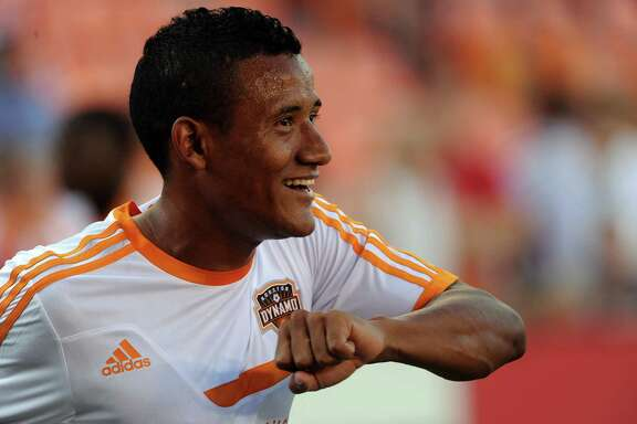 Houston Dynamo midfielder Luis Garrido warms up before an MLS soccer game against D.C. United, Sunday, August 3, 2014, at BBVA Compass Stadium in Houston.