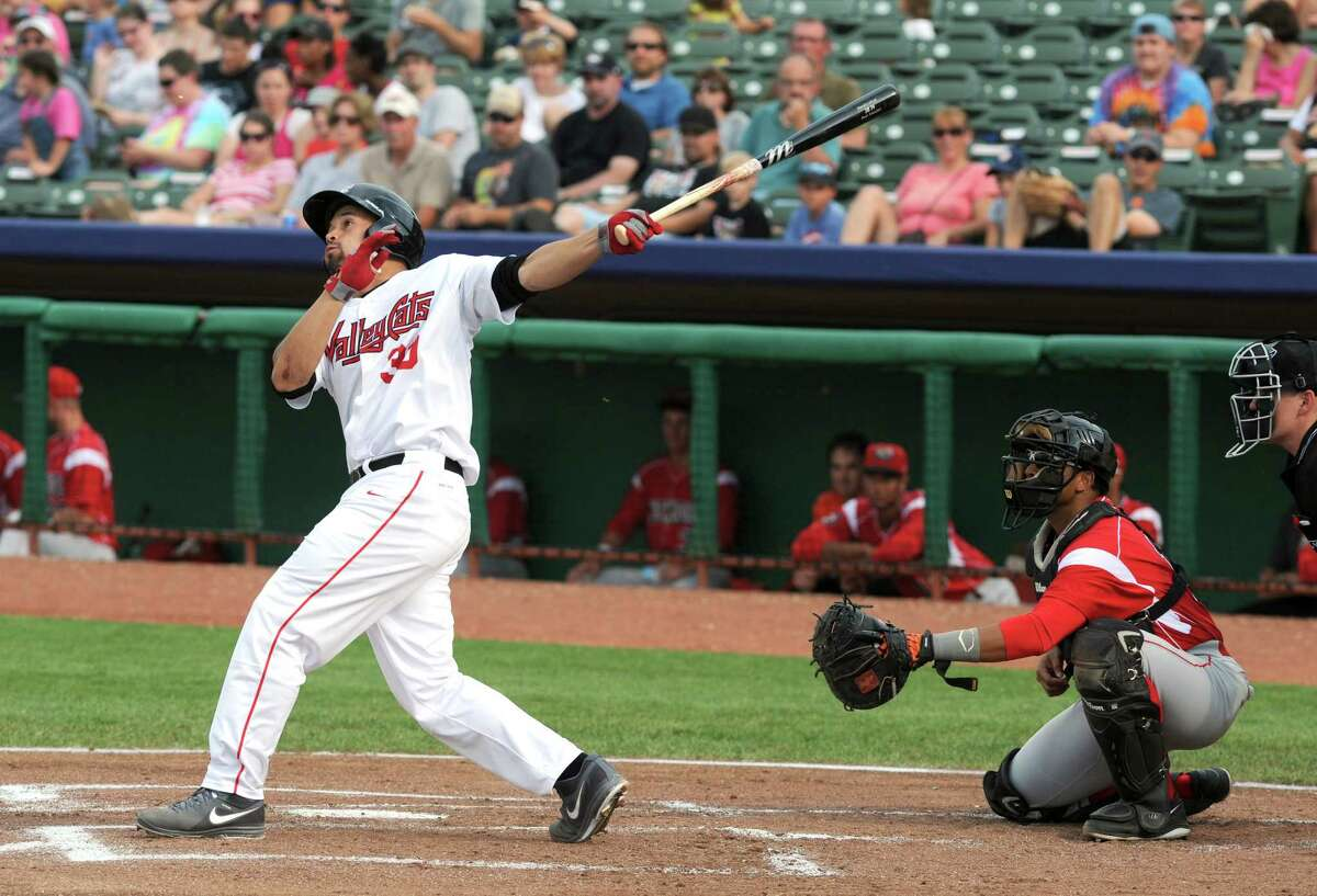 ValleyCats Nick Tanielu connects for a hit during their baseball game against the Batavia Muckdogs at Joe Bruno Stadium on Sunday Aug. 3, 2014 in Troy, N.Y. (Michael P. Farrell/Times Union)