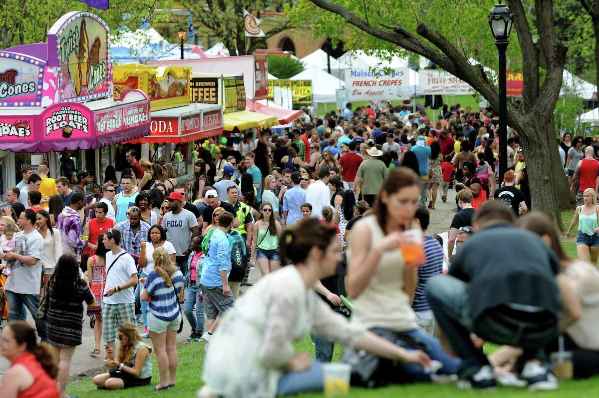 Festival goers at the Tulip Festival on Saturday, May 10, 2014, at Washington Park in Albany, N.Y. (Cindy Schultz / Times Union archive)