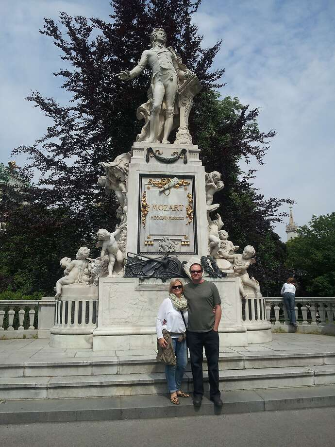Lisa and Joel Toller with Mozart at the Burggarten in Vienna, Austria Photo: Courtesy Lisa Toller