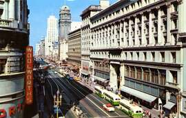 Big dime store Woolworth's, seen here in 1957 at Market Street and Powell. This S.F. store was one of the chain's busiest and biggest locations until the company closed all its stores in 1997.