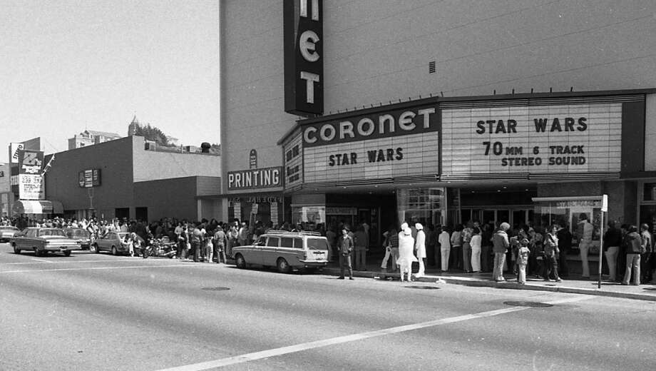 A flick at the Coronet Theatre. Pictured:  Fans line up to see 'Star Wars' during the film's opening weekend at the Coronet Theatre on May 25, 1977. The Geary Boulevard movie house seated close to 2,000 and became a Mecca for 'Star Wars' films before it was demolished in 2007. Photo: Gary Fong, The Chronicle