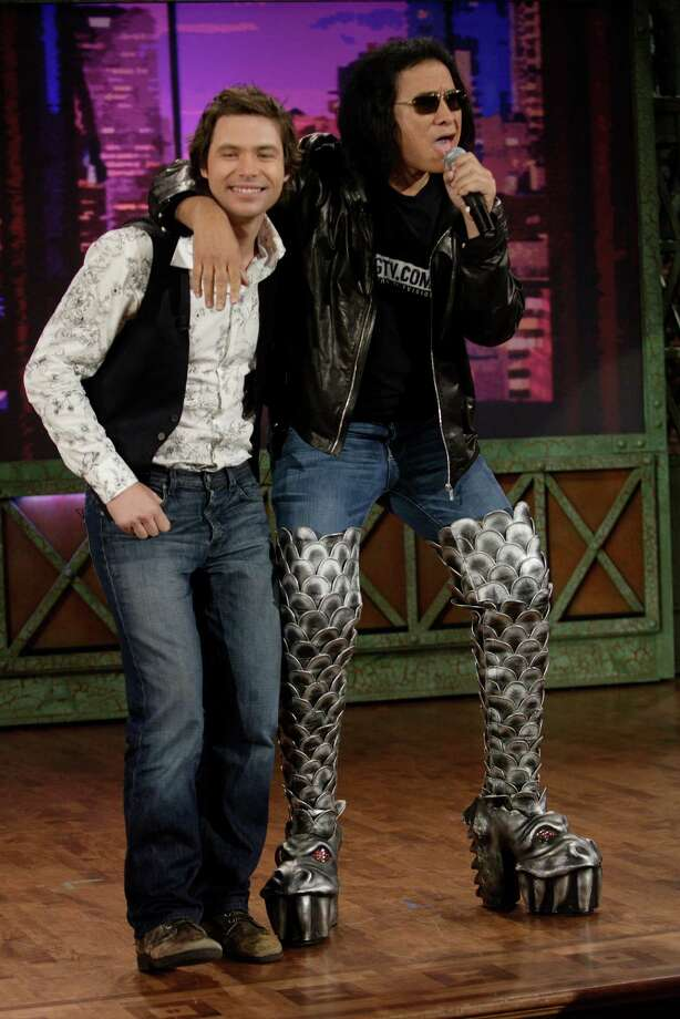 """Former American Idol contestant Michael Johns and musician Gene Simmons are seen on """"The Tonight Show with Jay Leno"""" during a segment on April 11, 2008 Photo: Dave Bjerke, NBCU Photo Bank Via Getty Images / © NBC Universal, Inc.."""