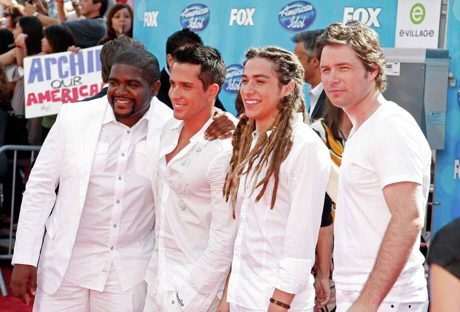 Season 7 Idol contestants Chikezie (from left), David Hernandez, Jason Castro, and Michael Johns arrive at the American Idol Season 7 Grand Finale held at the Nokia Theatre on May 21, 2008 in Los Angeles, California. Photo: Kevin Winter, Getty Images / 2008 Getty Images