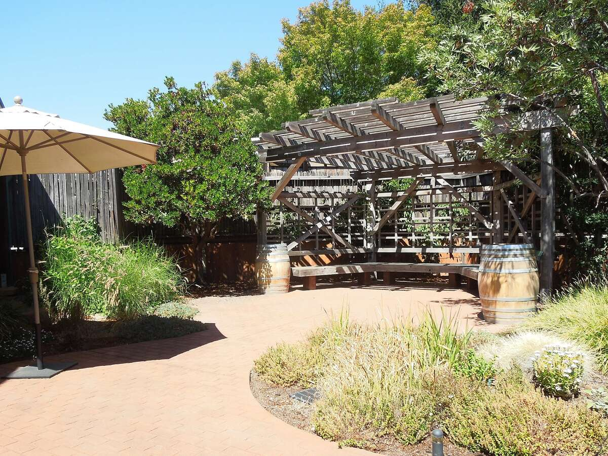 The patio area at the Wine Guerrilla tasting room in Forestville. Bring lunch from one of several nearby cafes and enjoy the patio.