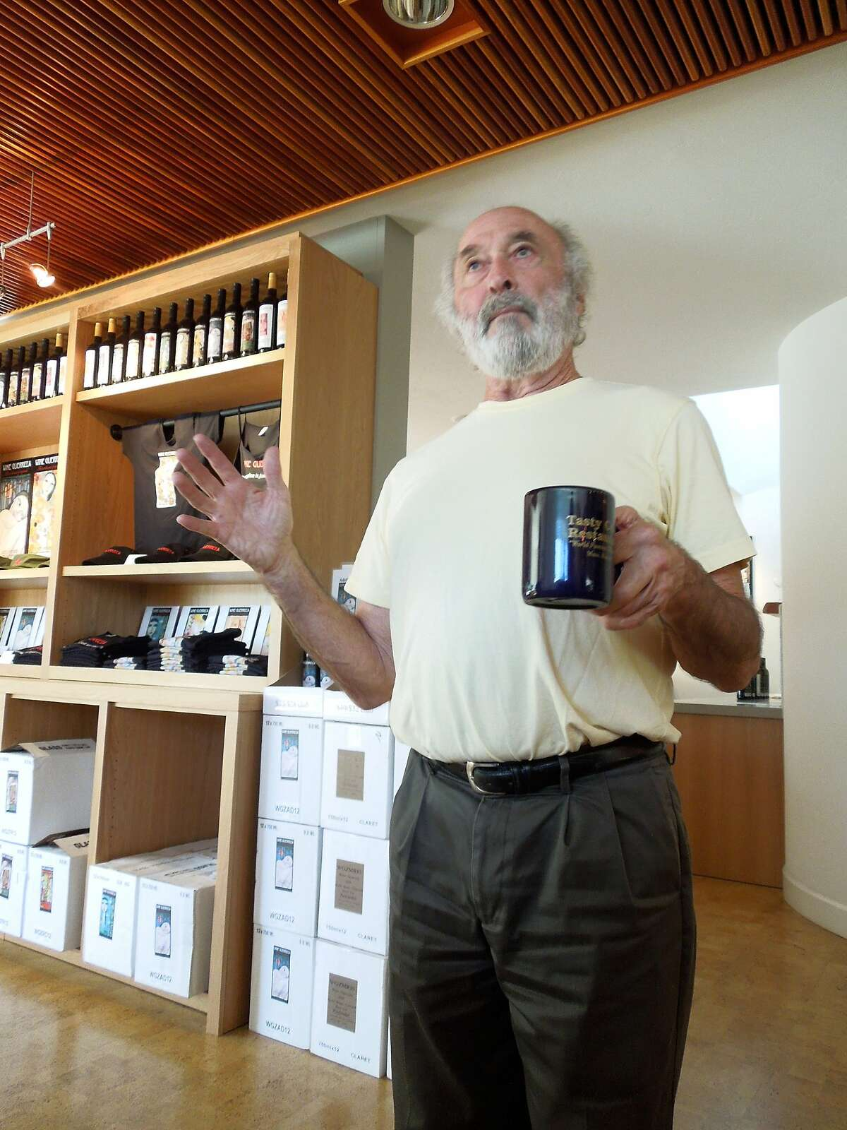 Wine Guerrilla owner Bruce Patch in his Forestville tasting room.