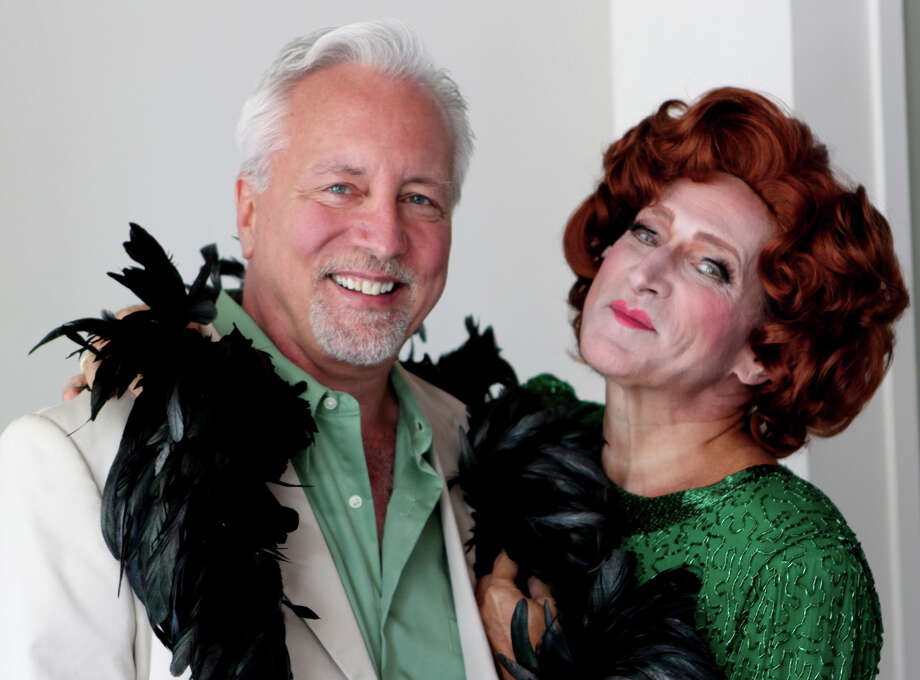 "James Van Treuren (left) is playing Georges and David Edwards is Albin in the Ivortyon Playhouse production of ""La Cage Aux Folles"" that opened on August 8 and is running through August 31. Photo: Picasa, Contributed Photo / Connecticut Post Contributed"